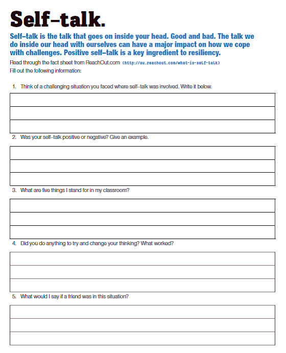 Printables Negative Self Talk Worksheet Cinecoa Thousands of – Negative Self Talk Worksheet